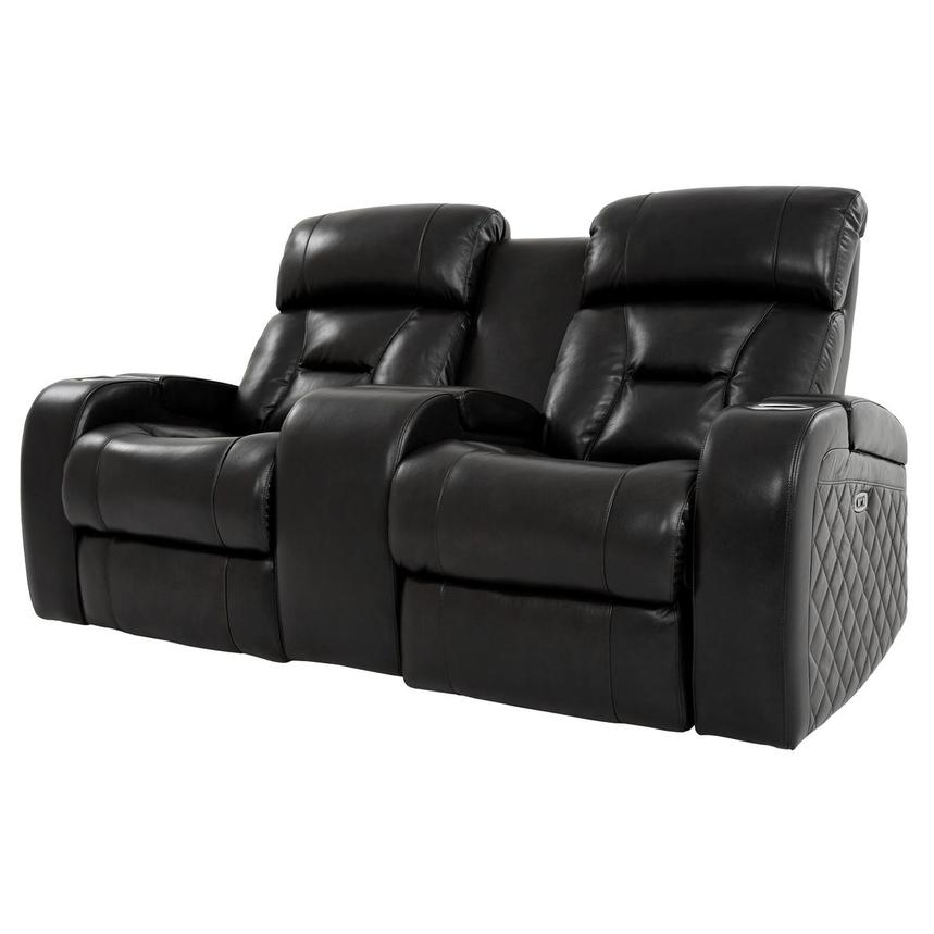Gio Black Power Motion Leather Sofa w/Console  alternate image, 2 of 13 images.