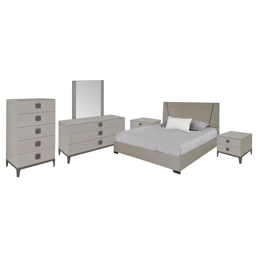 Mont Blanc Gray 6-Piece Queen Bedroom Set Made in Italy  main image, 1 of 7 images.