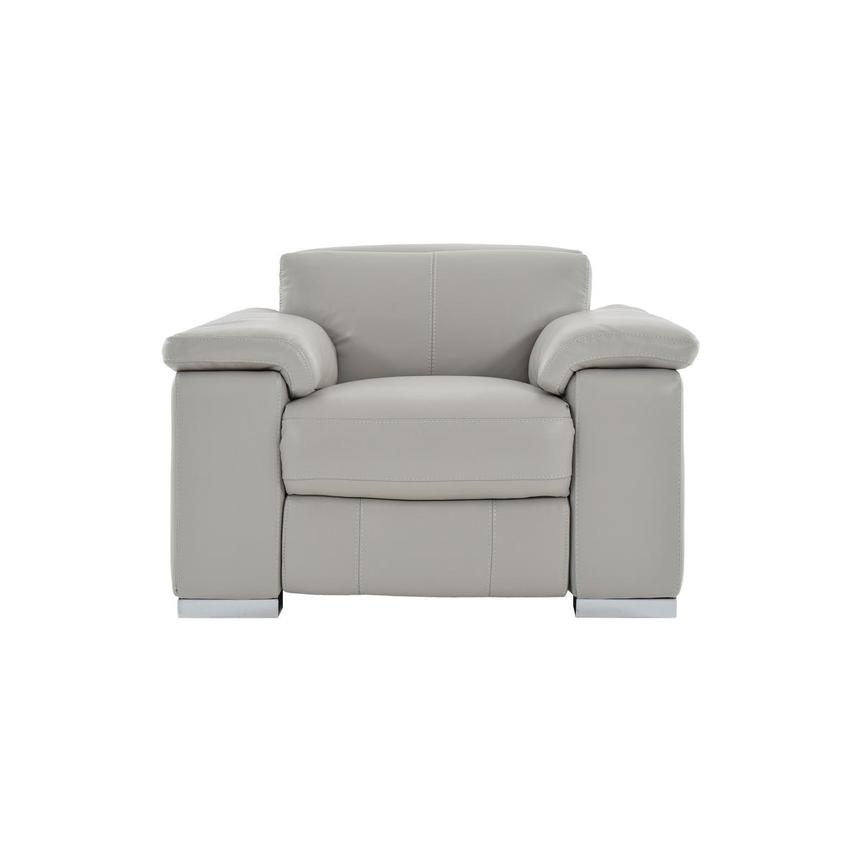 Charlie Light Gray Leather Power Recliner  main image, 1 of 11 images.