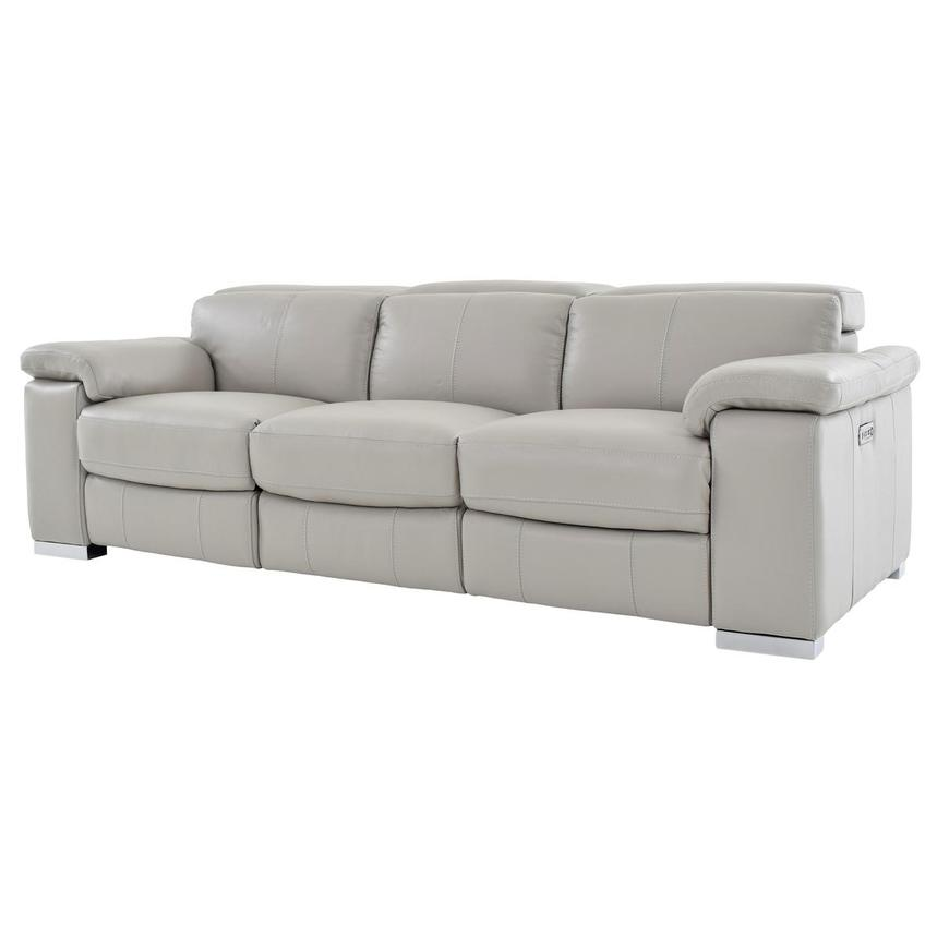 Charlie Light Gray Leather Power Reclining Sofa  alternate image, 2 of 11 images.