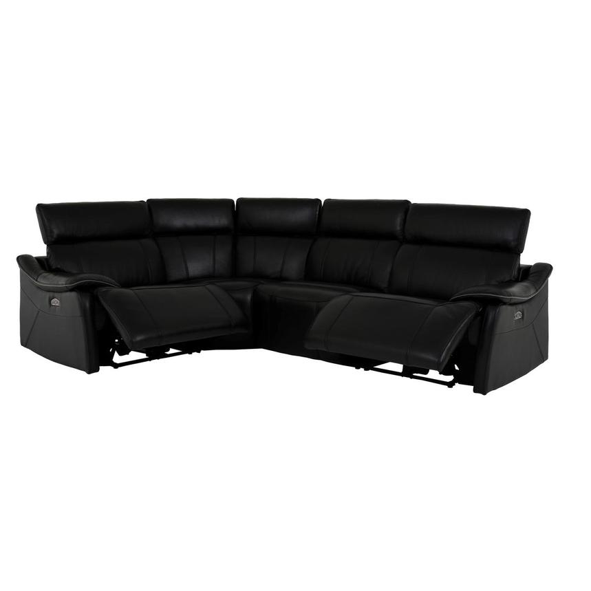 Austin Black Leather Power Reclining Sectional  alternate image, 2 of 8 images.