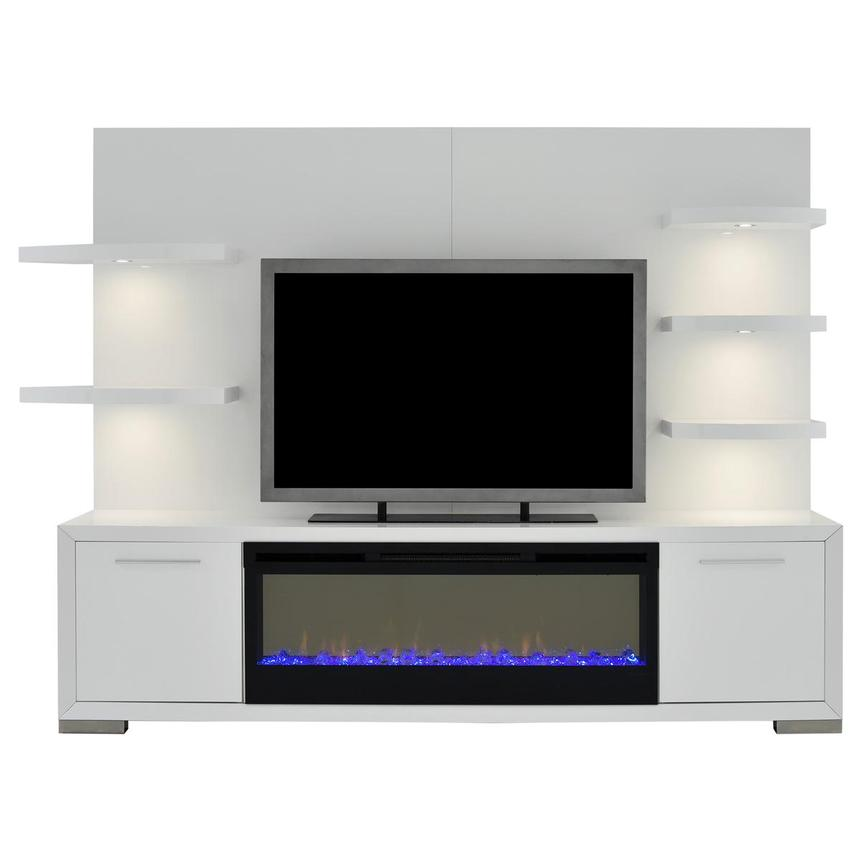 Rialto White Wall Unit w/Faux Fireplace  main image, 1 of 10 images.