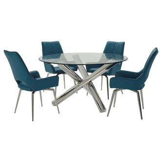 Addison II/Kalia Brown 5-Piece Formal Dining Set