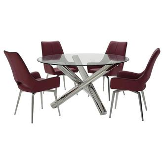Addison II/Kalia Red 5-Piece Formal Dining Set