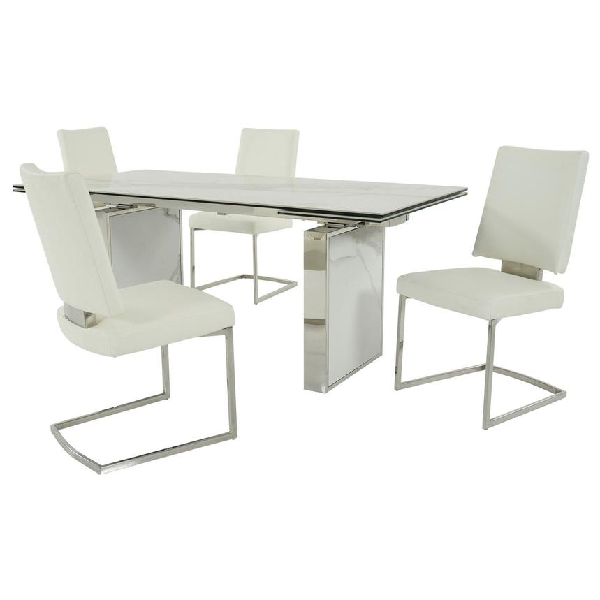 Sveva White 5-Piece Formal Dining Set  main image, 1 of 15 images.