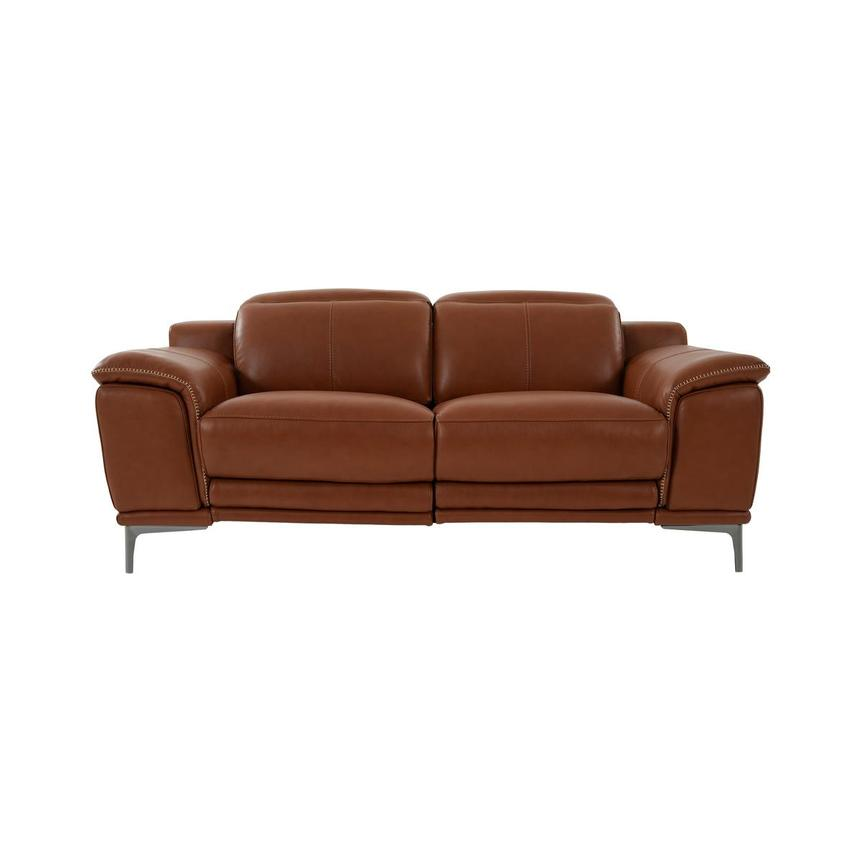 Katherine Tan Leather Power Reclining Loveseat  main image, 1 of 10 images.