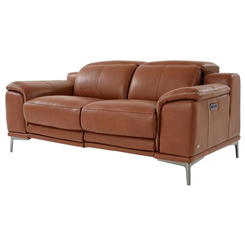 Katherine Tan Leather Power Reclining Loveseat  alternate image, 2 of 12 images.