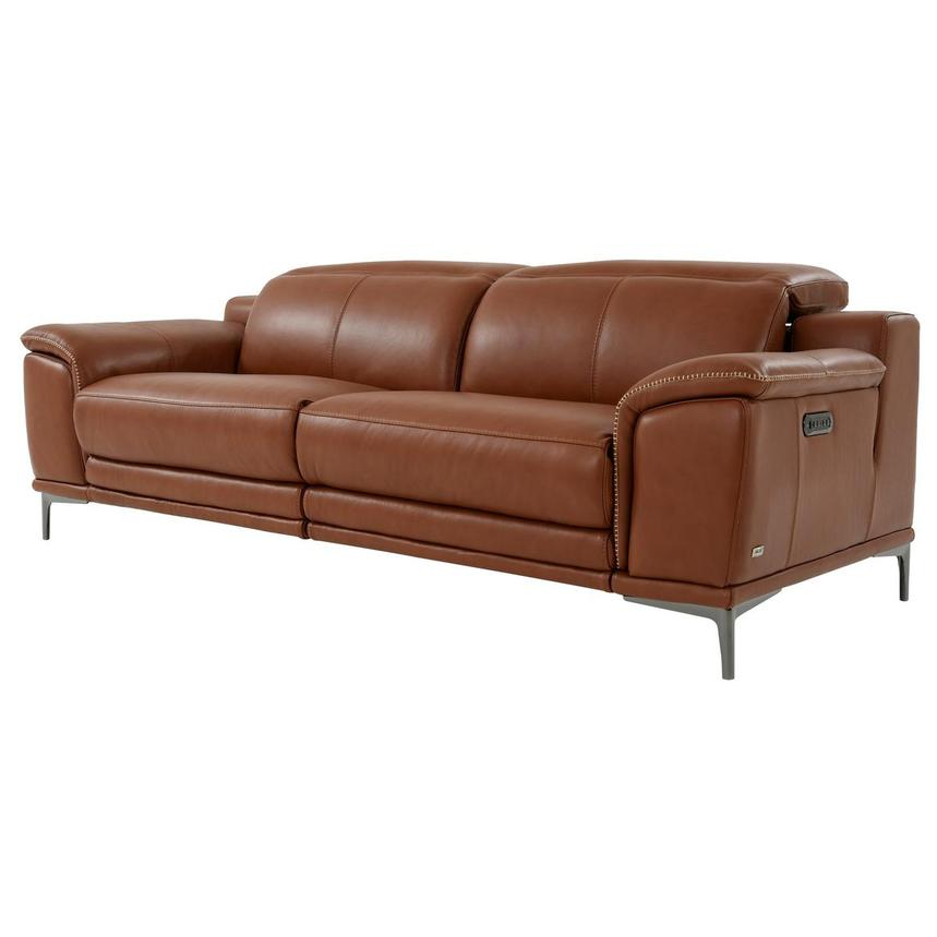 Katherine Tan Leather Power Reclining Sofa  alternate image, 2 of 12 images.