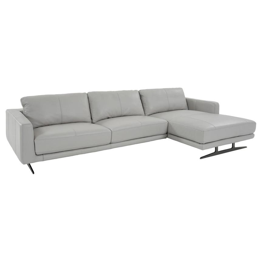 Theo Leather Sectional Sofa w/Right Chaise