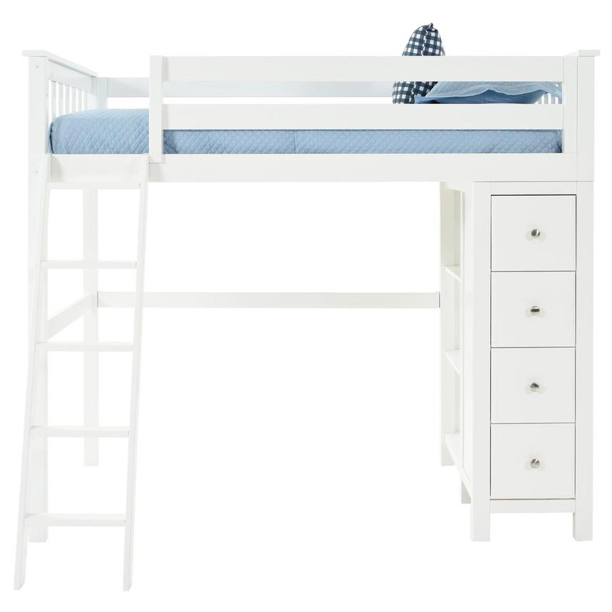 Haus White Twin Loft Bed w/Chest  main image, 1 of 13 images.