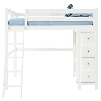 Haus White Twin Loft Bed w/Chest