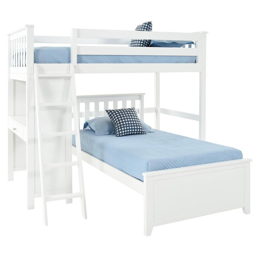 Haus White Twin Over Twin Bunk Bed w/Desk  main image, 1 of 2 images.