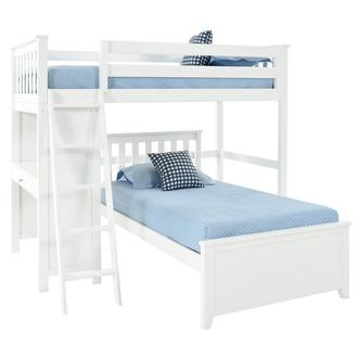 Haus White Twin Over Twin Bunk Bed w/Desk