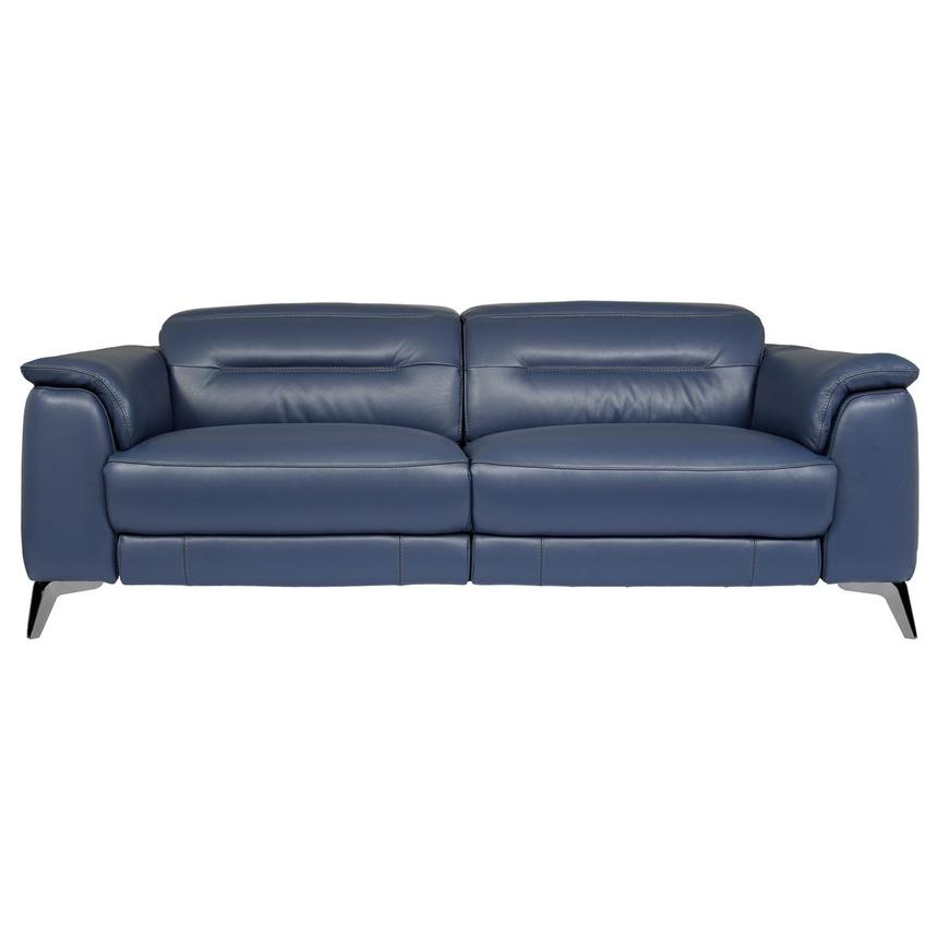 Anabel Blue Leather Power Reclining Sofa  main image, 1 of 10 images.