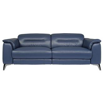 Anabel Blue Leather Power Reclining Sofa