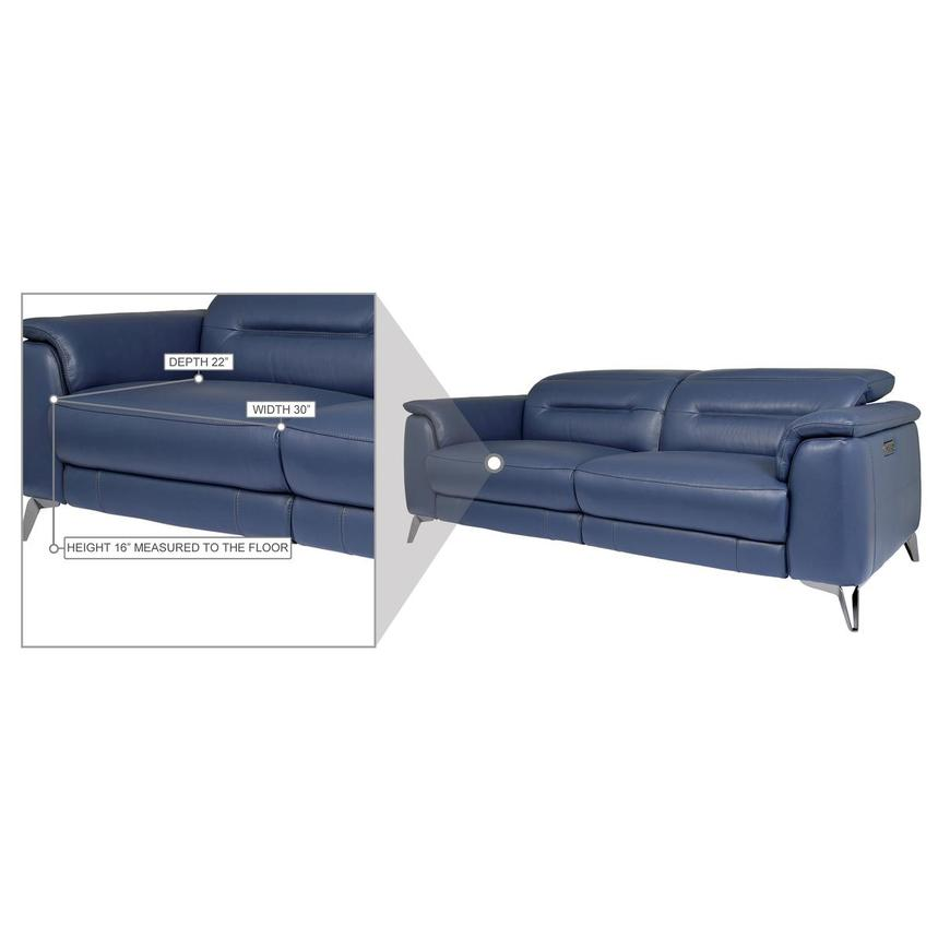Anabel Blue Leather Power Reclining Sofa  alternate image, 11 of 11 images.