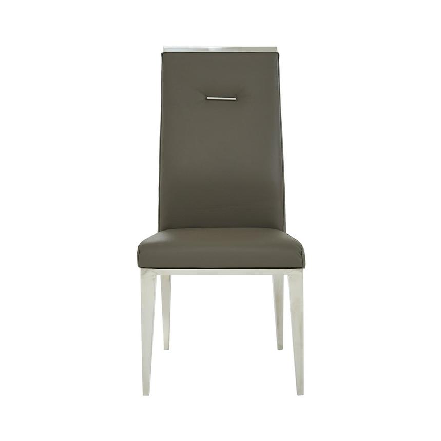 Hyde II Gray Leather Side Chair  main image, 1 of 6 images.
