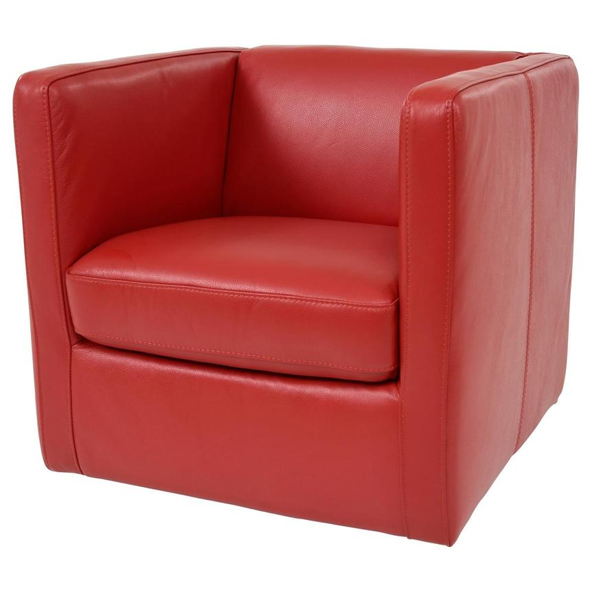 Cute Red Leather Swivel Chair  alternate image, 2 of 8 images.