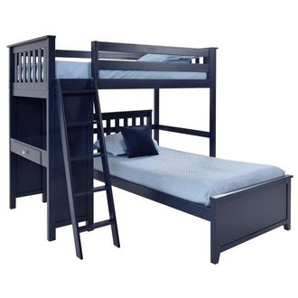 Haus Blue Twin Over Twin Bunk Bed w/Desk