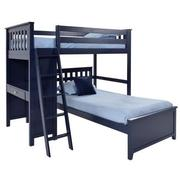 Haus Blue Twin Over Twin Bunk Bed w/Desk  main image, 1 of 10 images.