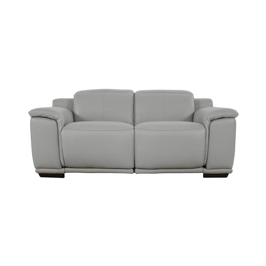 Davis 2.0 Light Gray Leather Power Reclining Loveseat  main image, 1 of 10 images.