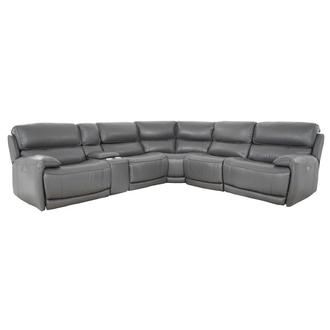 Cody Gray Leather Power Reclining Sectional