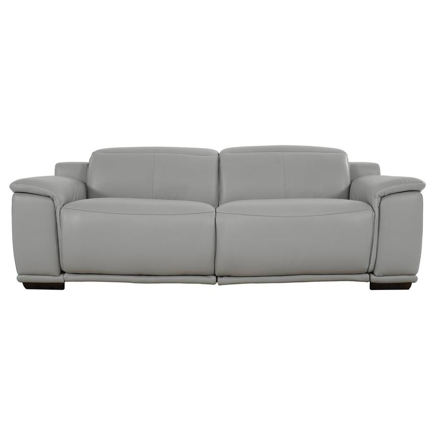 Davis 2.0 Light Gray Leather Power Reclining Sofa  main image, 1 of 9 images.