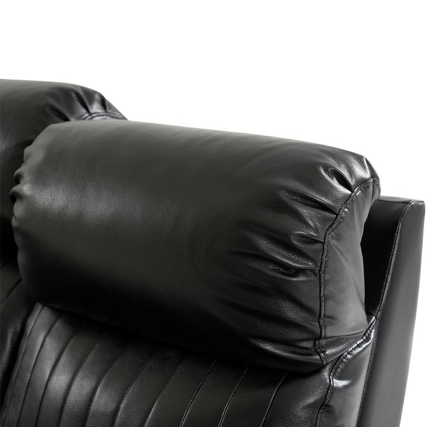 Obsidian Leather Power Reclining Sofa w/Massage & Heat  alternate image, 6 of 15 images.