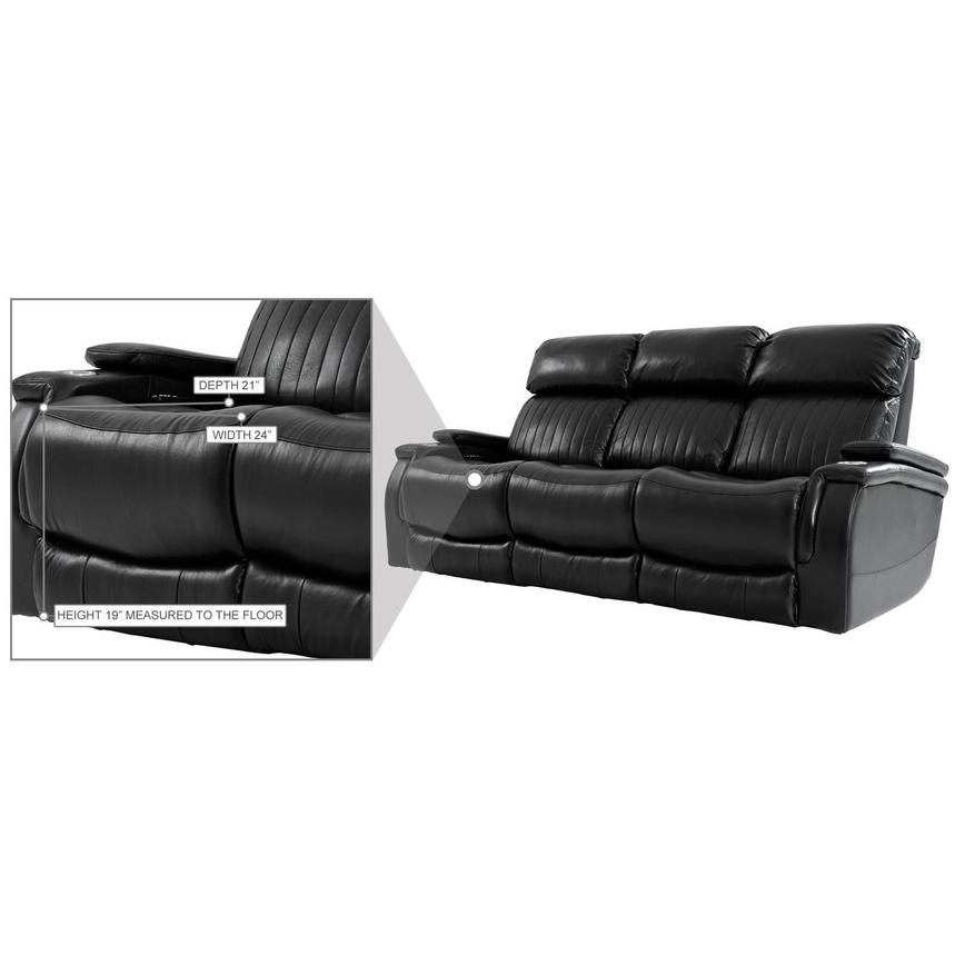 Obsidian Leather Power Reclining Sofa w/Massage & Heat  alternate image, 15 of 16 images.