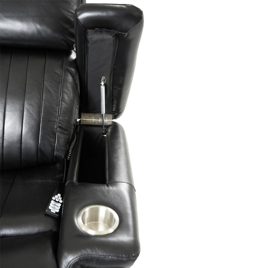 Obsidian Leather Power Reclining Sofa w/Massage & Heat  alternate image, 10 of 15 images.