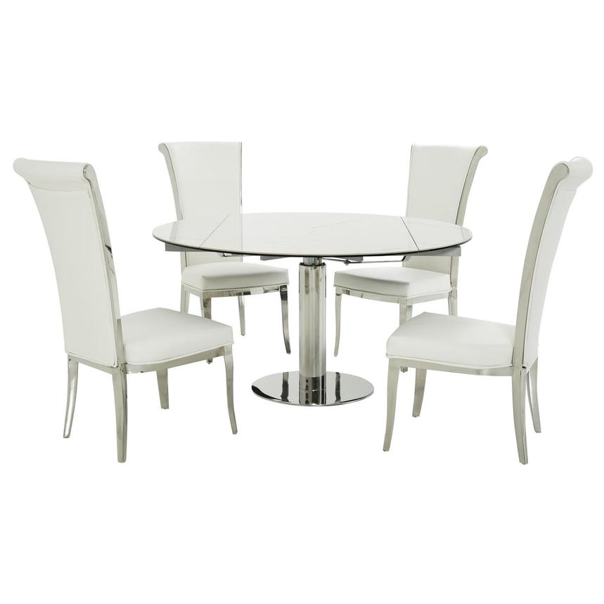 Tami Faux Mable/Joy White 5-Piece Dining Set  main image, 1 of 12 images.