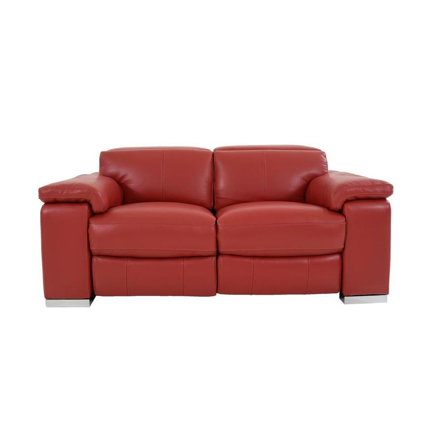 Charlie Red Leather Power Reclining Loveseat  main image, 1 of 12 images.