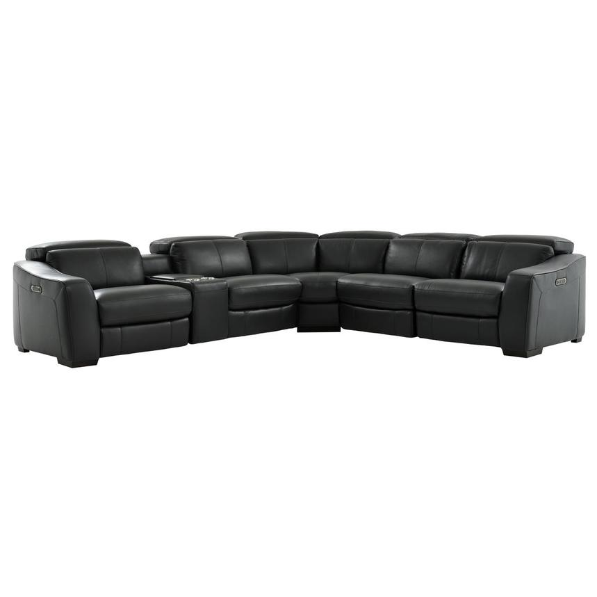 Jay Dark Gray Leather Power Reclining Sectional  main image, 1 of 10 images.