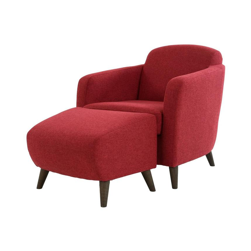 Haisley Red Accent Chair w/Ottoman  main image, 1 of 15 images.