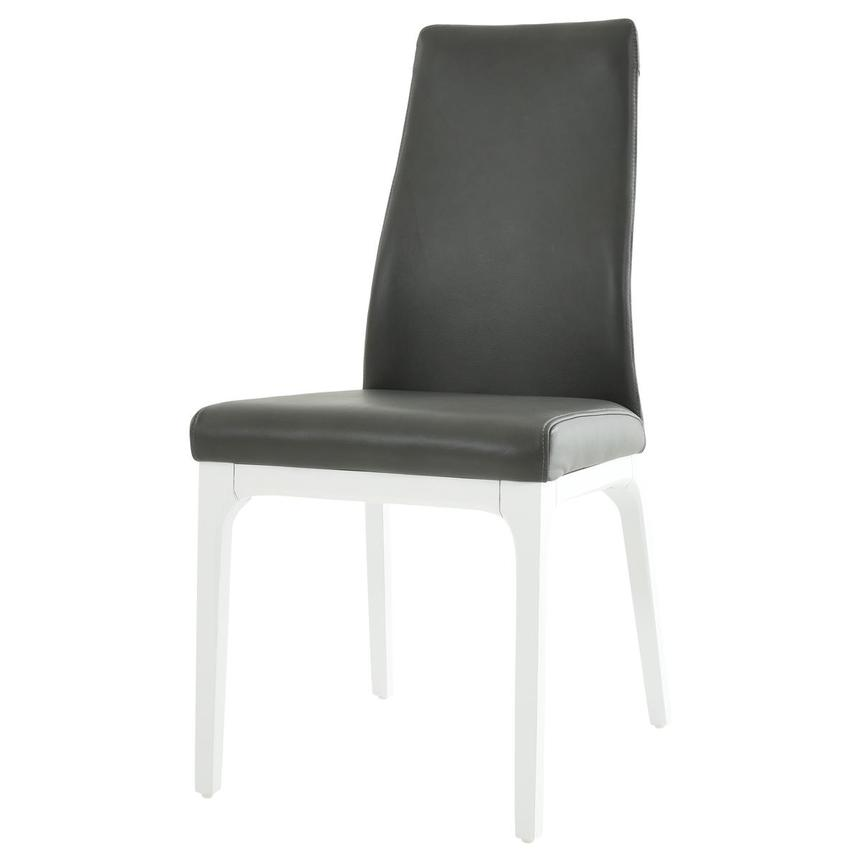 Valencia White/Gray Leather Side Chair  alternate image, 2 of 6 images.