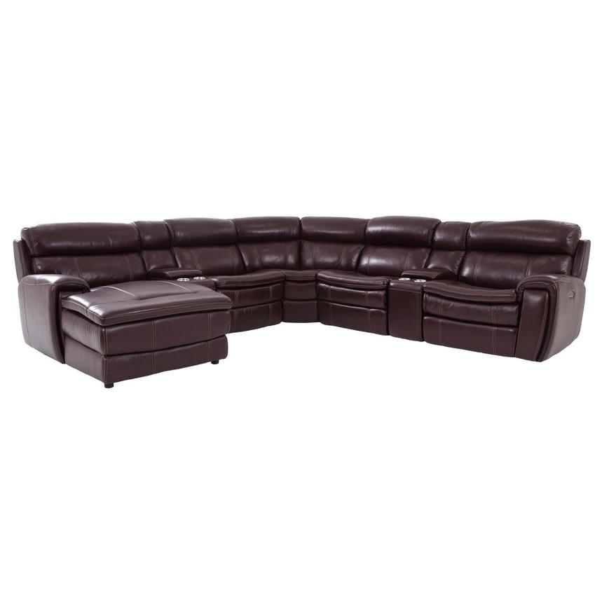 Napa Burgundy Leather Power Reclining Sectional w/Left Chaise  main image, 1 of 8 images.