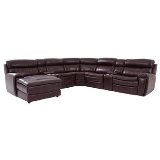 Napa Burgundy Leather Power Reclining Sectional w/Left Chaise