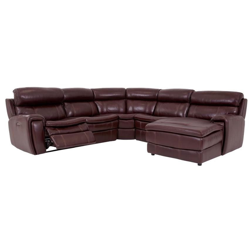 Napa Burgundy Leather Power Reclining Sectional w/Right Chaise  alternate image, 2 of 8 images.