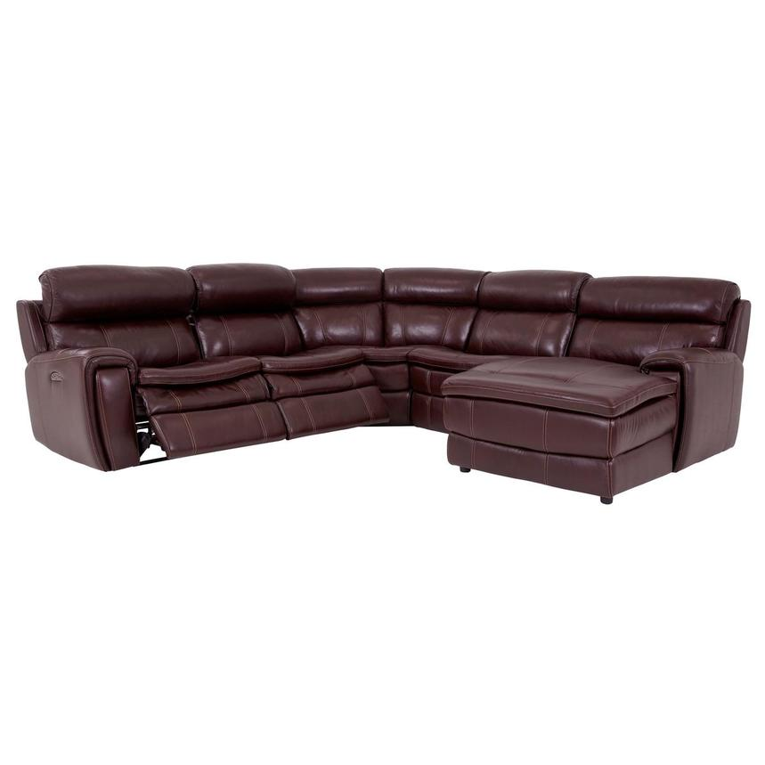 Napa Burgundy Leather Power Reclining Sectional w/Right Chaise  alternate image, 2 of 7 images.