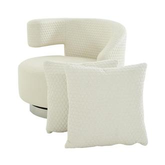 Okru Cream Swivel Chair w/2 Pillows