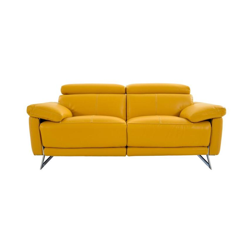 Gabrielle Yellow Leather Power Reclining Loveseat  main image, 1 of 10 images.