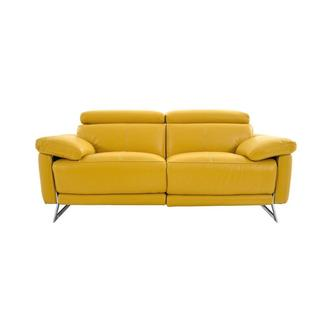 Gabrielle Yellow Leather Power Reclining Loveseat