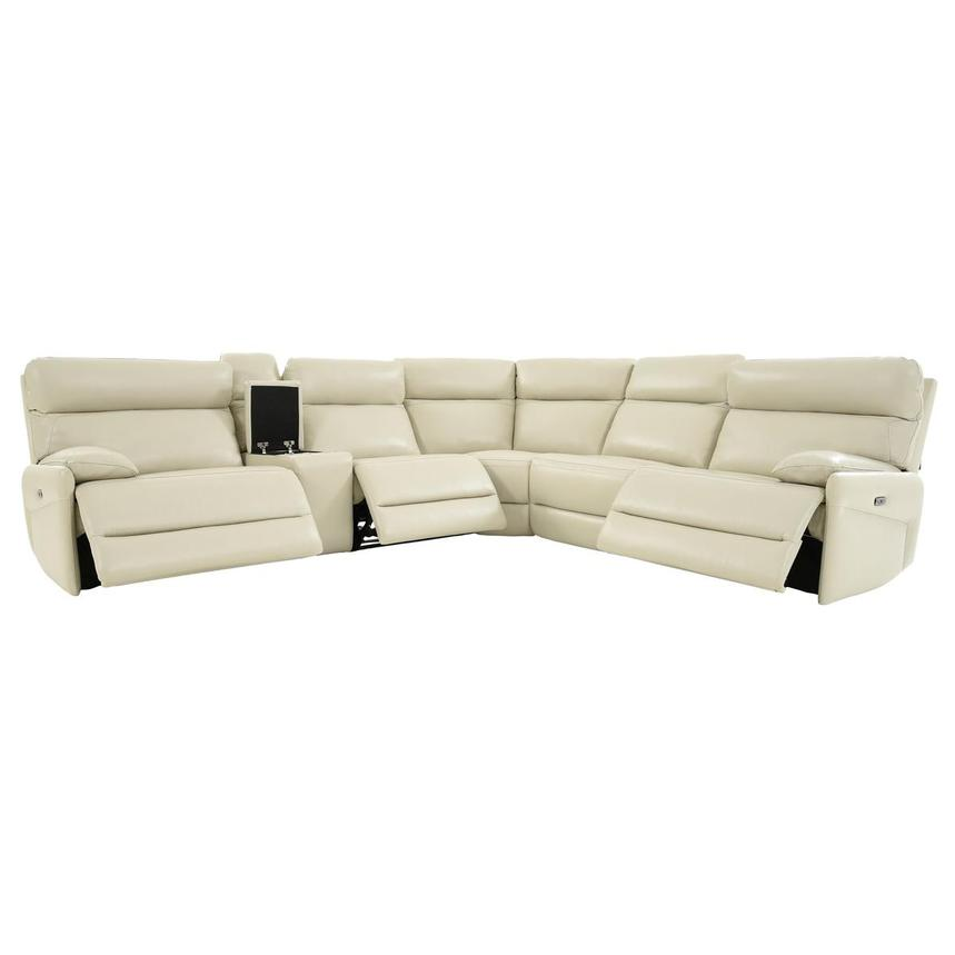 Benz Cream Leather Power Reclining Sectional  alternate image, 2 of 12 images.