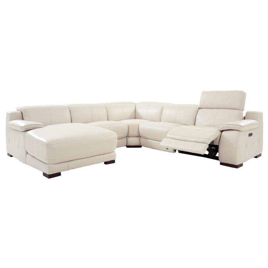 Gian Marco Cream Leather Power Reclining Sectional w/Left Chaise  alternate image, 2 of 10 images.
