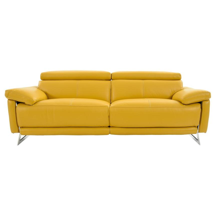 Gabrielle Yellow Leather Power Reclining Sofa  main image, 1 of 11 images.