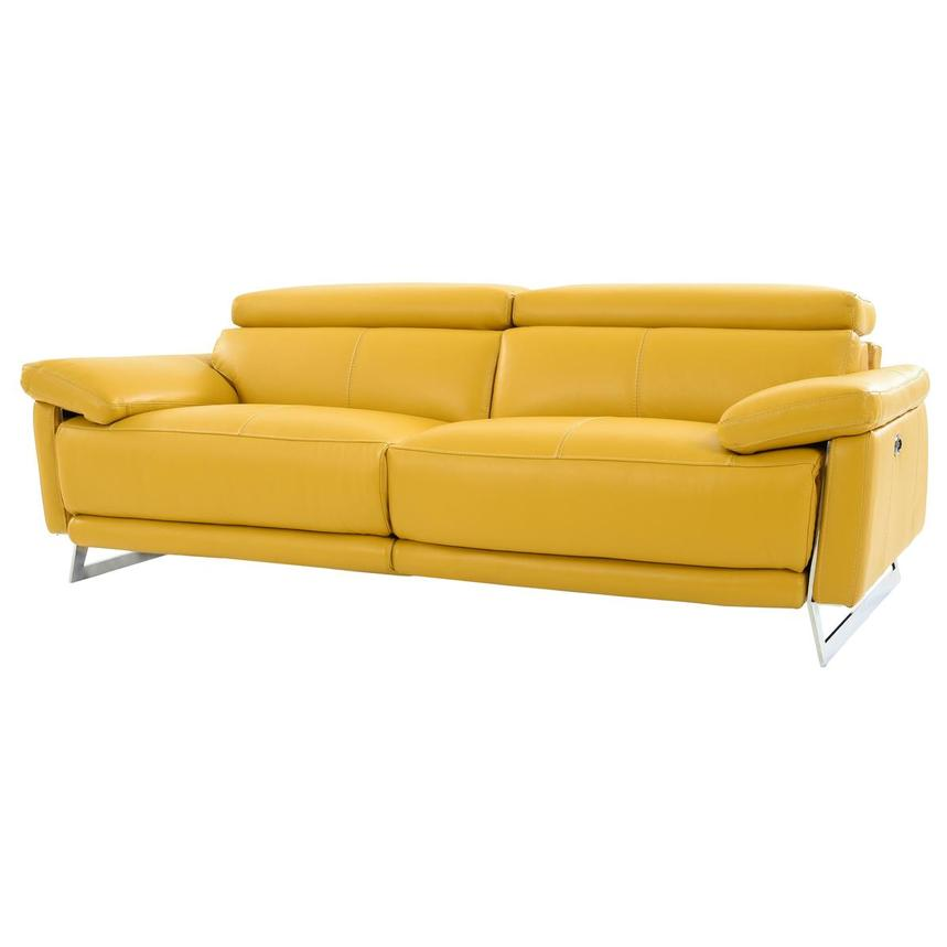 Gabrielle Yellow Leather Power Reclining Sofa  alternate image, 2 of 11 images.