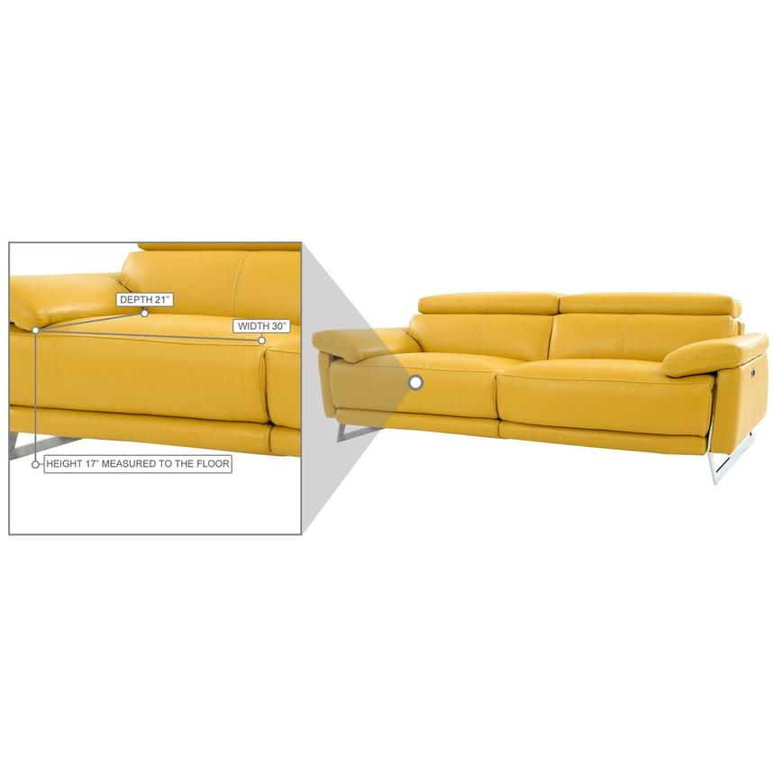 Gabrielle Yellow Leather Power Reclining Sofa  alternate image, 11 of 11 images.