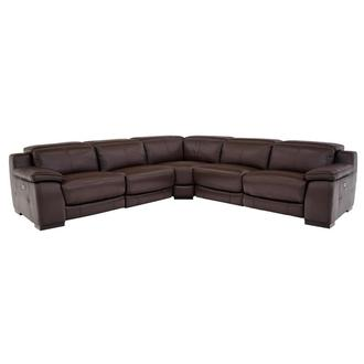 Gian Marco Dark Brown Leather Power Reclining Sectional