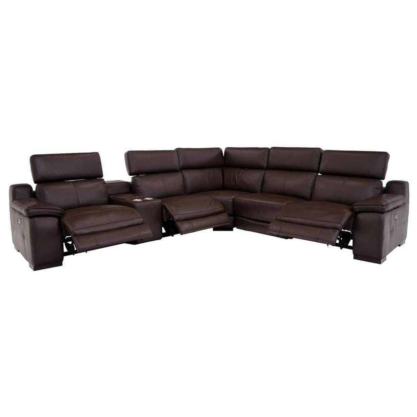 Gian Marco Dark Brown Leather Power Reclining Sectional  alternate image, 2 of 9 images.