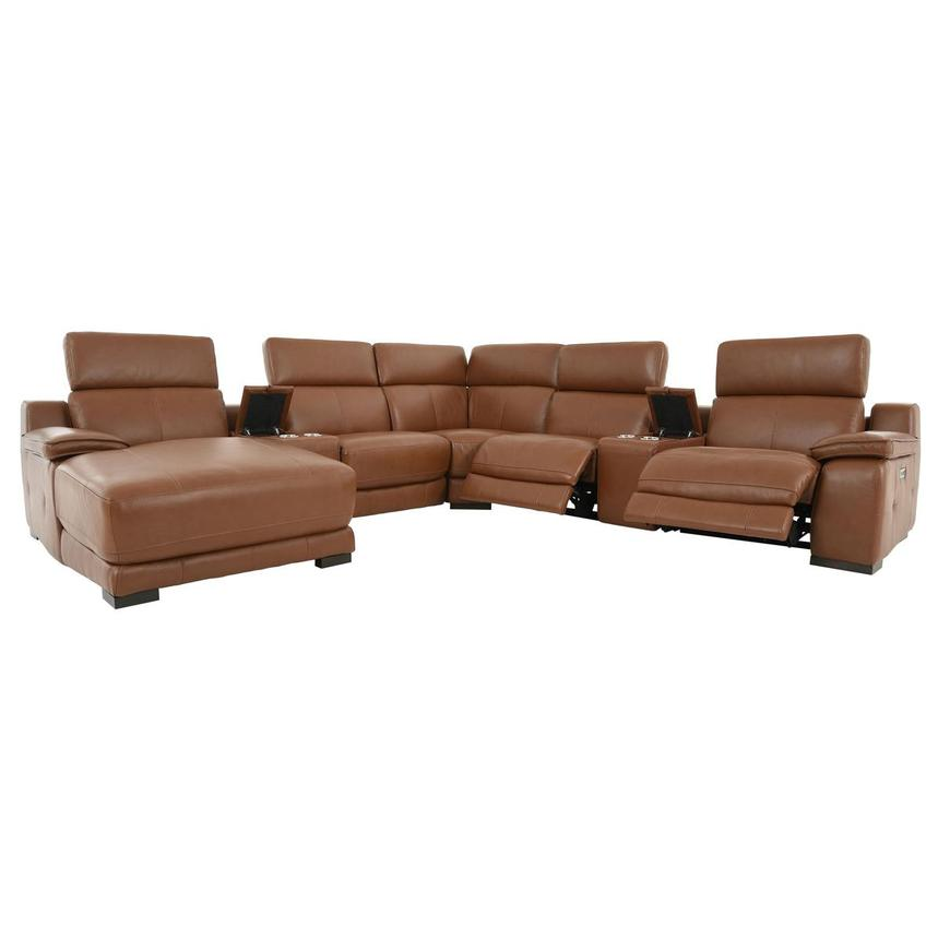 Gian Marco Tan Leather Power Reclining Sectional w/Left Chaise  alternate image, 3 of 9 images.